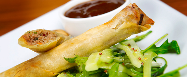 Crispy duck, vegetable and noodle spring rolls